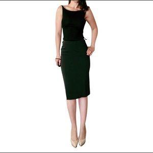 Prada Black Front Pleat Pencil Skirt SZ 44 8 6